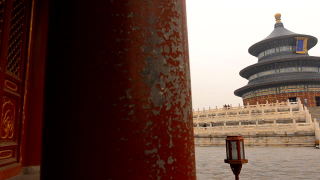 panning: the temple of heaven under pollution - temple of heaven stock videos & royalty-free footage