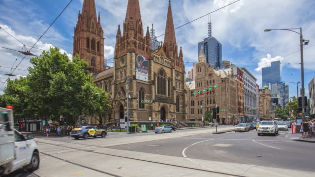 Panning time lapse in the center of Melbourne, Australia