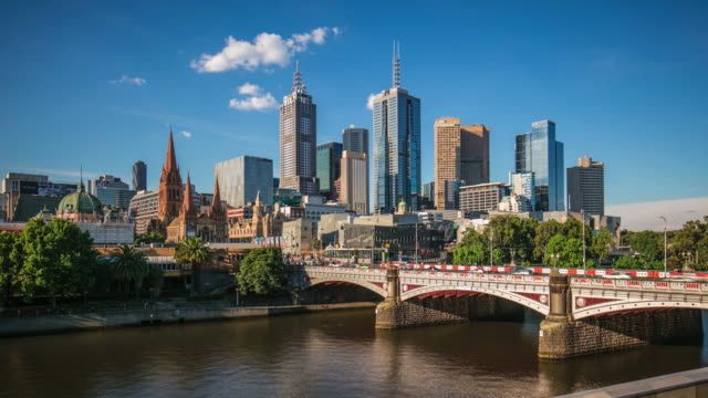 panning time lapse of melbourne central business district on a sunny day - skyline stock videos & royalty-free footage