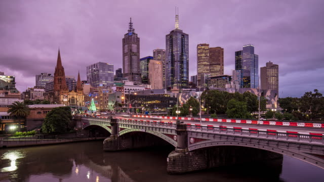 Panning time lapse of Melbourne central Business district