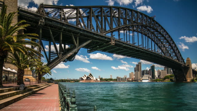 vídeos de stock, filmes e b-roll de panning time lapse of sydney harbour bridge - sydney australia