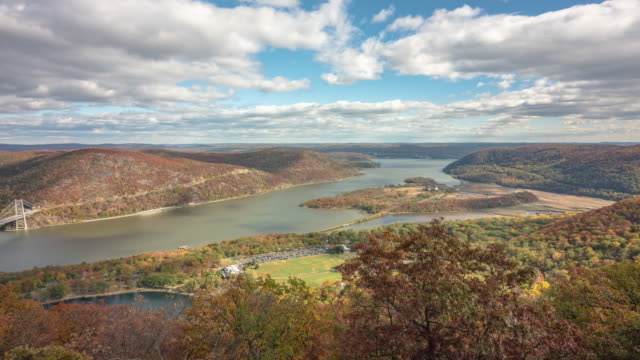panning time lapse, panoramic view bear mountain bridge. hudson river. autumn fall leaves colorful hudson valley, new york. - hudson valley stock videos and b-roll footage