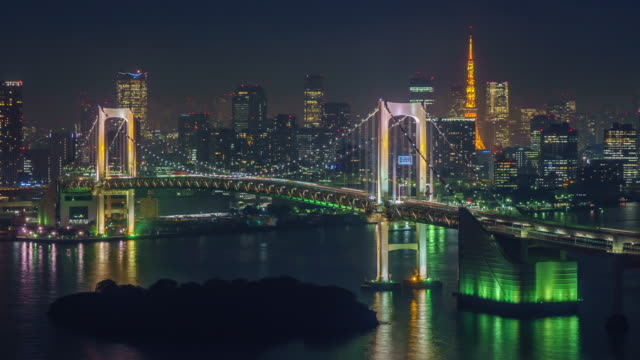 4k panning time lapse : rainbow bridge and tokyo tower in tokyo, japan. - tokyo bay stock videos and b-roll footage