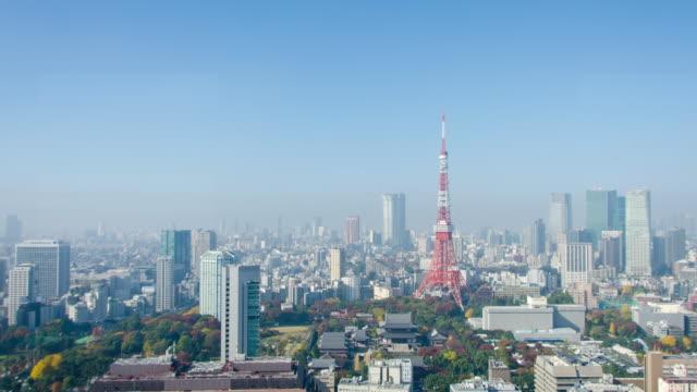 4K Panning Time Lapse : Tokyo Tower in Tokyo , Japan