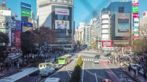 t/l ws panning timelapse erial view of shibuya crossing in tokyo , japan . - shibuya ward stock videos & royalty-free footage