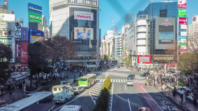 t/l ws panning timelapse erial view of shibuya crossing in tokyo , japan . - shibuya ward stock videos & royalty-free footage