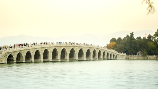 panning timelapse :on the bridge at Beijng Summer Palace in winter