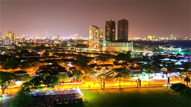 panning time-lapse: penang malaysia downtown skyline at night - penang stock videos and b-roll footage