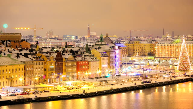 panning timelapse: stockholm cityscape at night - stockholm stock videos & royalty-free footage
