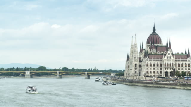 panning tl: hungarian parliament building - day view from szechenyi chain bridge - eastern european culture stock videos & royalty-free footage