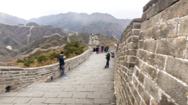panning tl: on top of badaling great wall of china - badaling great wall stock videos & royalty-free footage