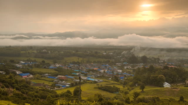 panning tl: small rural city under sunrise - mae hong son province stock videos and b-roll footage