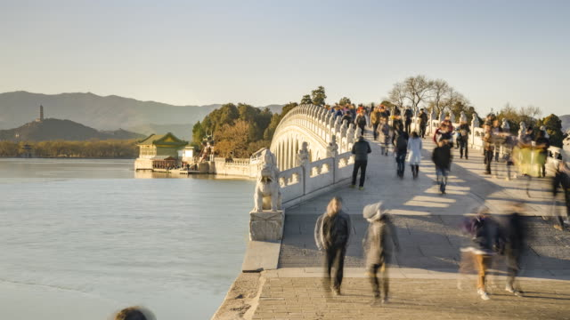 panning tl:on 17-arch bridge at sunset - summer palace beijing stock videos & royalty-free footage