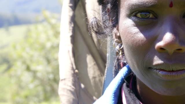 panning to right: sri lankan woman tea picker portrait - sri lanka people stock videos & royalty-free footage