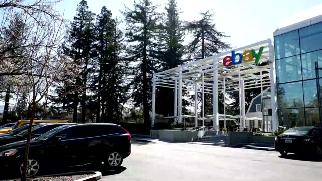 panning to sign on facade at headquarters of internet auction company ebay in the silicon valley san jose california march 15 2019 - san jose california stock videos & royalty-free footage