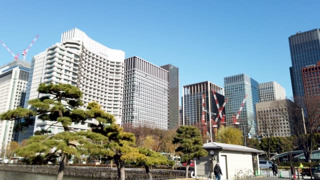 vídeos de stock, filmes e b-roll de arquitectura da cidade de tokyo de panning em tokyo, japão - árvore de folha caduca