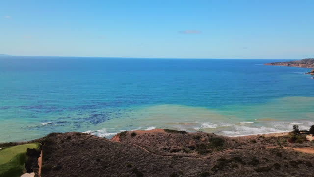 panning towards and around palos verdes coastline - palos verdes stock videos & royalty-free footage
