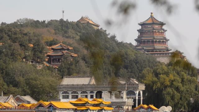 panning: tower of buddhist incense on mountain - summer palace beijing stock videos & royalty-free footage