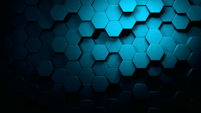 panning turquoise beautiful hexagons on surface morphing in seamless 4k abstract motion design background 3d animation for the concepts of technology, communication, transitions, party-social events, celebration events, finance, data, web and mobile - hexagon stock videos & royalty-free footage