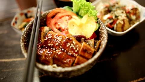 rt panning unangi dong. - japanese food stock videos & royalty-free footage