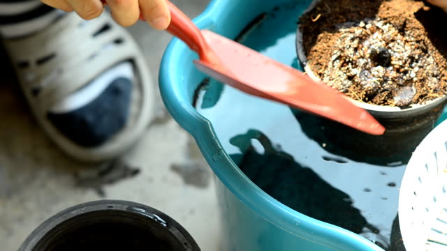 panning: use trowel to water soil in a plastic pot - plant pot stock videos & royalty-free footage