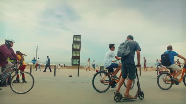 Panning video of Barceloneta beach in Barcelona, Spain