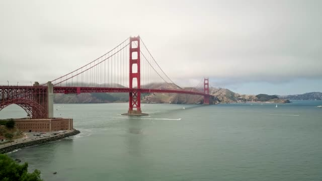 panning video of golden gate bridge on a cloudy day - golden gate bridge stock videos & royalty-free footage