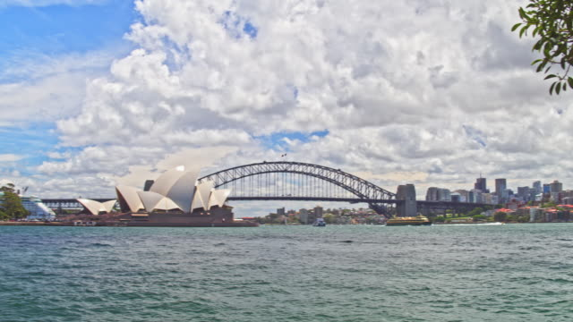 Panning video of Sydney centre with Sydney Harbour Bridge