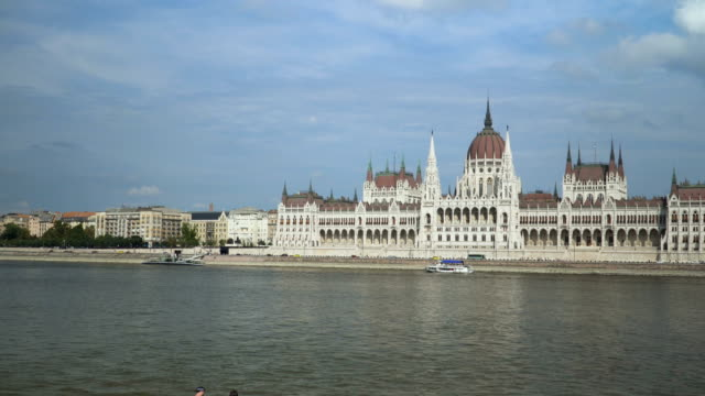 panning view: hungarian parliament building under blue sky - day view from the riverbank - hungary stock videos & royalty-free footage