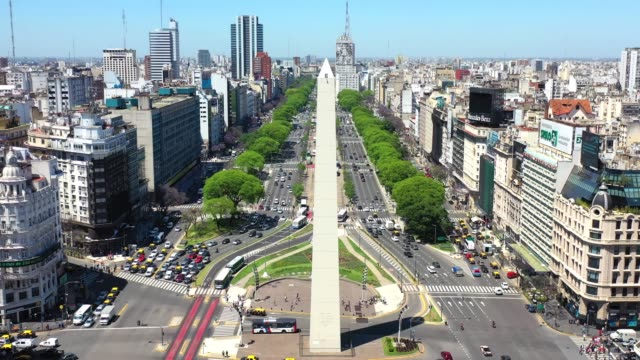 panning view, obelisk landmark in buenos aires - avenida 9 de julio stock videos & royalty-free footage