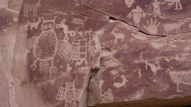 panning view of petroglyph panel with large owl carved in rock - canyon stock videos & royalty-free footage