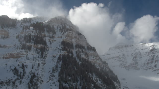 Panning view of snow covered mountains and cliffs