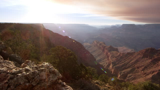 Panning view of the Grand Canyon with Sun Flares