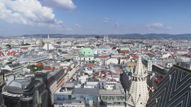 panning view of  vienna city from st. stephen's cathedral, austria - vienna austria stock videos & royalty-free footage