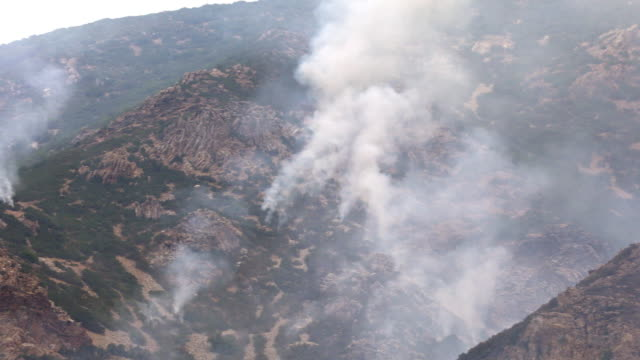 panning view of wildfire burning on mountain in utah - provo stock videos & royalty-free footage