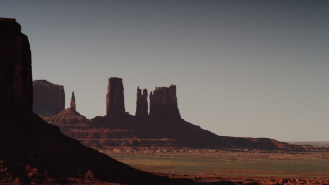 Panning wide shot of rock formations in Monument Valley / Monument Valley, Utah, United States,