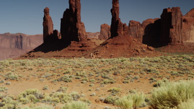 Panning wide shot of rock formations in Monument Valley / Totem Pole, Monument Valley, Utah, United States,