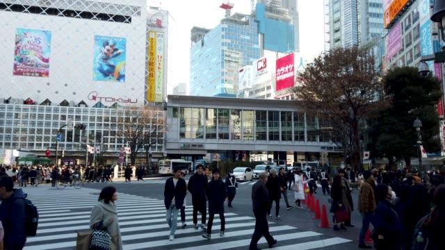 Panning wide shot . Shibuya cross in Tokyo , Japan