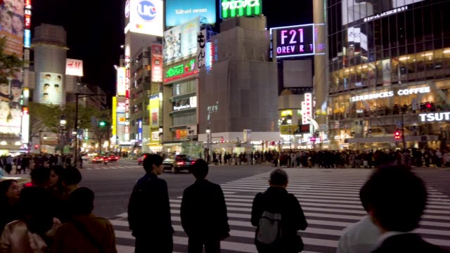 panning wide shot . shibuya cross in tokyo , japan. - grandangolo tecnica fotografica video stock e b–roll