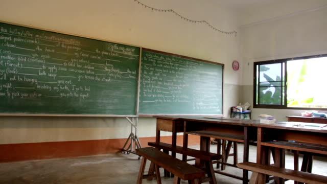 vidéos et rushes de panoramique avec tableau noir. - salle de classe