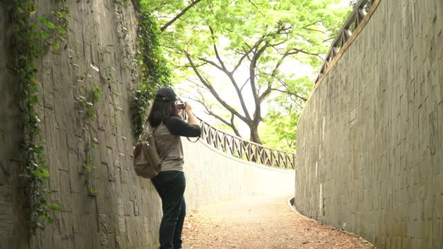 パン: 若い女性は彼女のカメラでパノラマ撮影を取る - 斜めから見た図点の映像素材/bロール