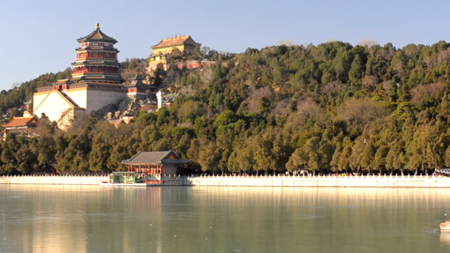 panning:Longevity Hill at Beijng Summer Palace in winter