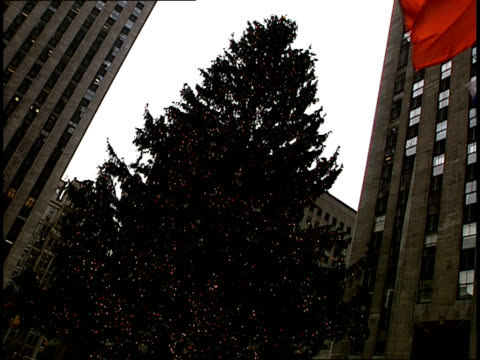 panning-shot from a huge christmas tree to holiday ice skaters enjoying the rockefeller center skating rink in new york. - rockefeller center christmas tree stock videos & royalty-free footage