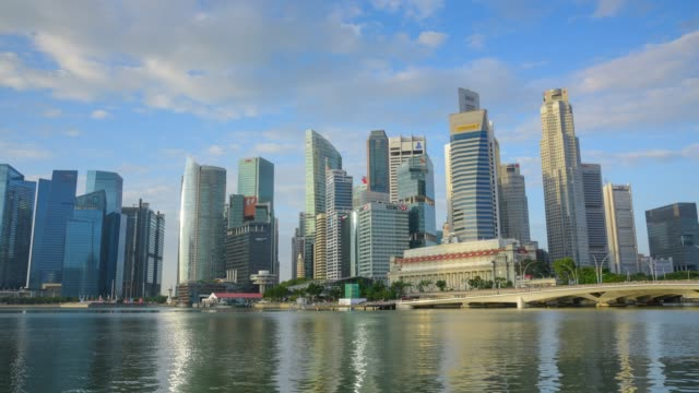 panning/zoom 180 degree view of the skyline of singapore downtown cbd - singapore river stock videos & royalty-free footage