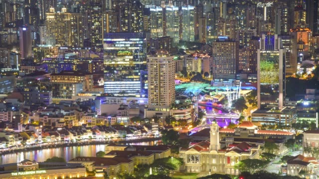 panning/zoom 180 degree view of the skyline of singapore downtown cbd - marina bay sands stock videos and b-roll footage