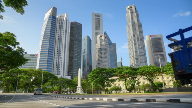 Panning/zoom 180 degree View of The skyline of Singapore downtown CBD
