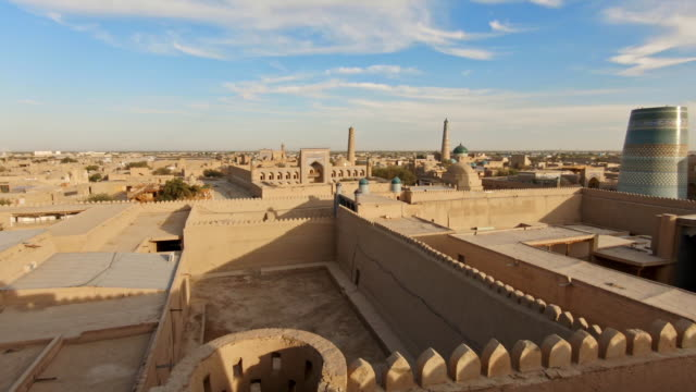 panorama of ancient city of khiva, uzbekistan - organised group stock videos & royalty-free footage