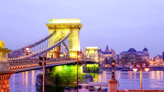 panorama of budapest, hungary - chain bridge suspension bridge stock videos & royalty-free footage
