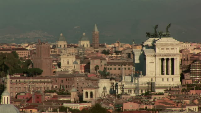 ws panorama of buildings / rome, italy - letterbox format stock videos and b-roll footage