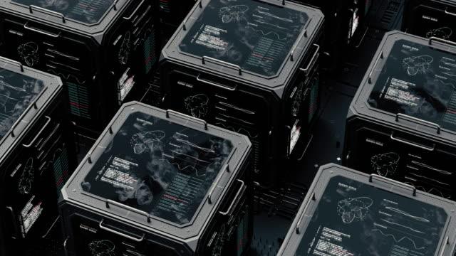 vídeos de stock, filmes e b-roll de panorama de objetos digitais a forma dos cubos. armazenamento de dados digitais. centro de informática. - sob proteção